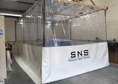 Commercial Half Clear White Dust Workshop Curtains  20Ft X 10Ft Spray Booth