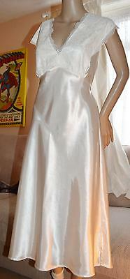 Glossy wet look satin VTG long gown Chemise Ivory 12-14