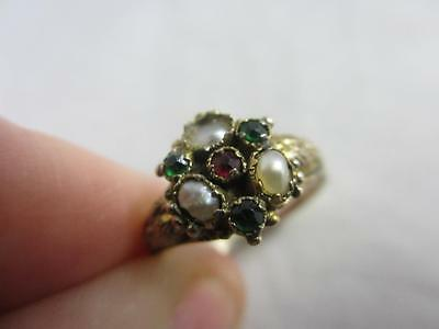Antique Victorian 15k / 15ct gold emerald ruby paste pearl ring size UK L E3884