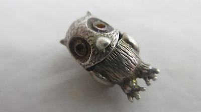 sterling silver wise owl bird english charm vintage c1960 tbj0023