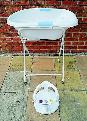 USED ROGER ARMSTRONG Baby Bath Tub + Stand n AQUABABY France Bath Chair RRP$119