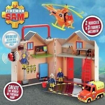 New Fireman Sam Kids Pontypandy Fire Station Rescue Deluxe Toy Playset
