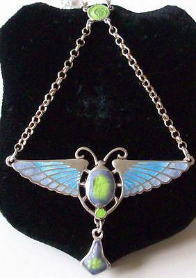 Reproduction Of A Charles Horner Egyptian Revival Enamel Scarab Silver Necklace