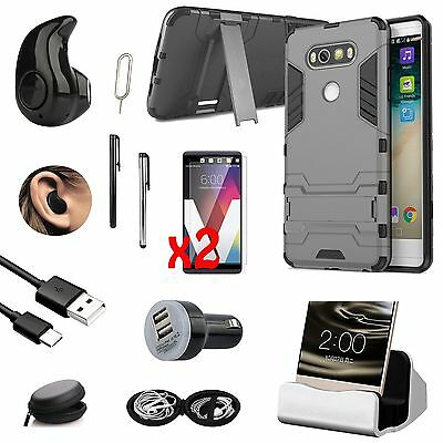 Black Kickstand Case Cover Dock Charger Bluetooth Earphones Accessory For LG V20