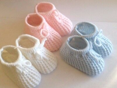 Baby Booties Knitted Newborn Bootees 0-3 Months Pink White Blue Cream 2 Styles