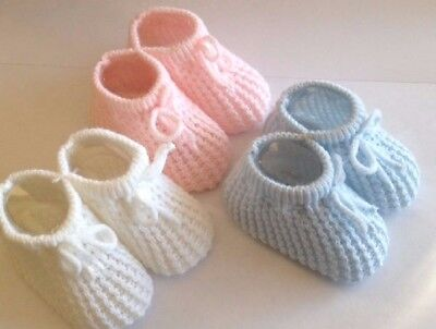 Baby Booties Knitted Newborn Bootees Size 0-3 Months Pink White or Blue