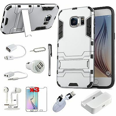 Sliver Kickstand Case Cover Charger Headset Accessory For Samsung Galaxy Note 5