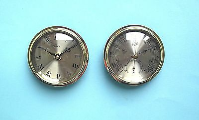108mm Gold Bezel Insertion Clock and Barometer Thermometer weather set