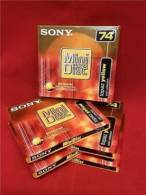 Sony 74 Minute Recordable Blank Minidiscs MD 5 Disc Pack Topaz Yellow Mini Discs