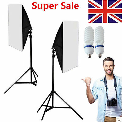 Photography LED 50 x 70cm Softbox Continuous Lighting Kit Photo Studio Set stand