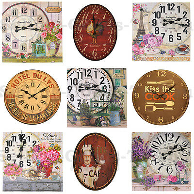 Vintage Wooden Wall Clock Round Oval Square Small Large Retro Rustic Shabby Chic