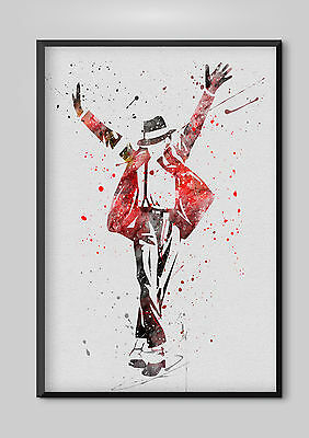 "Watercolour Michael Jackson  Wall  Print  8"" x 10"", A4, A3  Wall Art"