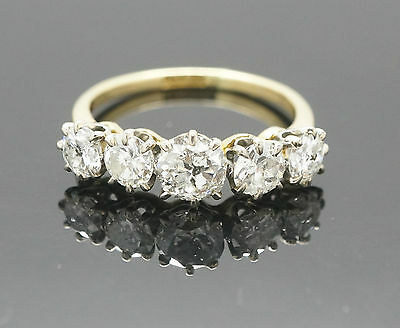 Antique 18ct Yellow Gold Old Cut Diamond (1.75ct) Eternity Ring (Size M 1/2)