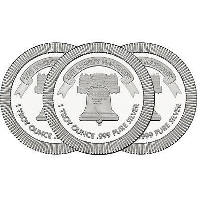 Liberty Bell Stackables 1oz .999 Silver Medallion (3pc)