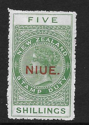 Niue  Sg 32  1918 Perf 14  5/- Yellow Green Postal Fiscal   Fine Mounted Mint