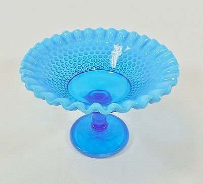 Vtg Westmoreland Blue Opalescent Hobnail Glass Ruffled Footed Compote Candy Dish