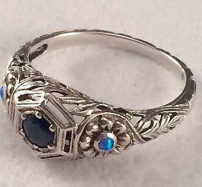 Beautiful Victorian Style Sterling Silver Sapphire and Opal Ring Size 6
