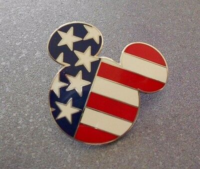 DISNEYLAND FLAG PIN Mickey Mouse Head Silhouette Patriotic Design 2001 (retired)