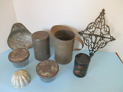 Antique Tin Ware Lot,1 Qt Measure,tea Tin, Kerr Jelly Glasses, 9 Items, Must See