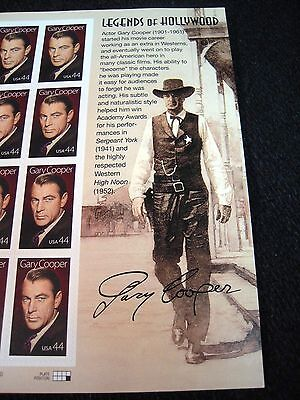 #4421, Gary Cooper, 2009, Movies, Mint Pane Of 20-44 Cent Stamps, Cv $31.00