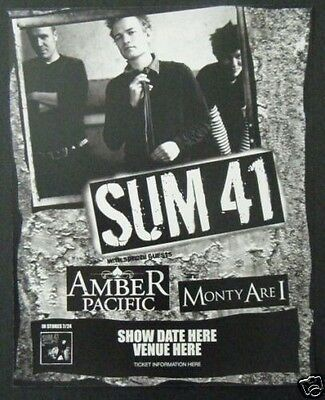 SUM 41 Promo CONCERT POSTER with Music Band Amber Pacific