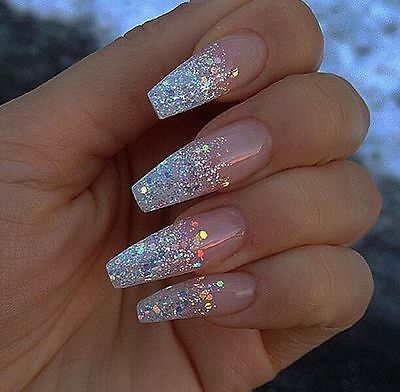 Long coffin silver glitter nails, fake nails, press on nails, stick on nails