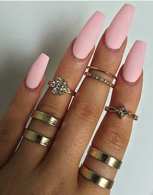 Matte pink coffin or stiletto nails, fake nails, hand painted nails, press on