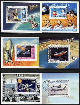 AFRICA  - 6 different COUNTRIES = USA in SPACE  x6 S/S  (blocks) A8