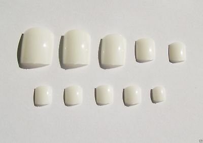 White 20x toe nails, full cover toes, pedicure, fake nails, stick on nails