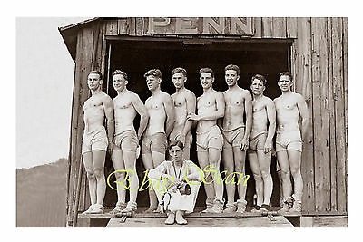 VINTAGE 1920's PHOTO NEAR NUDE MEN ON COLLEGE ROWING TEAM GAY INTEREST 49