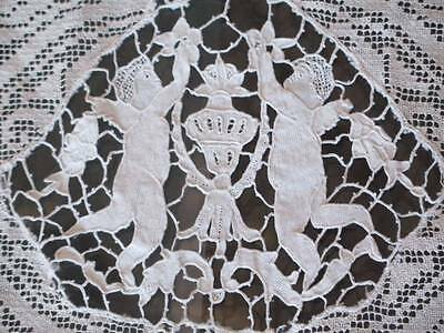 Needlelace 19th Century Cotton Handmade Lace Embroidered Bedspread Coverlet