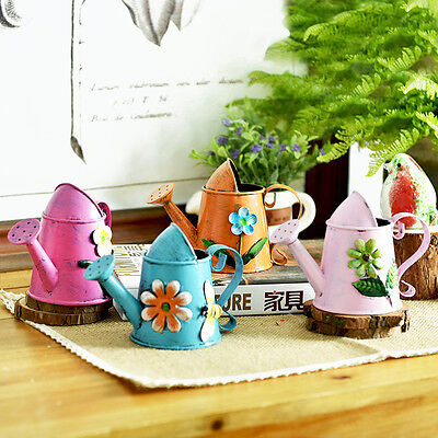 1pcs Mini Lovely Tinplate Metal Watering Can Bucket Flower Pot Home Decoration