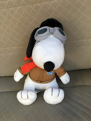 "Peanuts Snoopy MetLife Bomber Pilot Red Scarf Ace 6"" Plush Doll 2015"