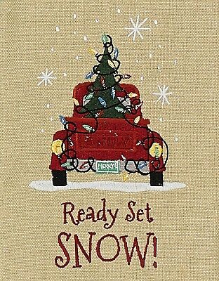 Ready Set Snow Old Pickup Truck with Christmas Tree Embroidered Kitchen Towel