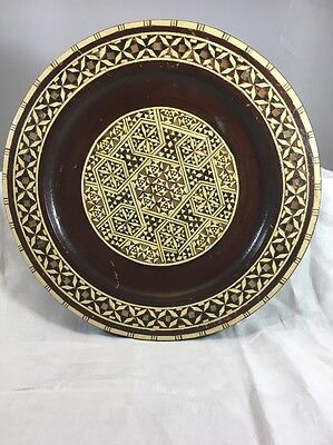 Vintage Handmade MOROCCAN INLAID WOODEN DECORATIVE PLATE w/ Abalone Shell 10""