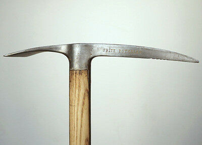 Antique Swiss Alpine Kandersteg Ice Axe Hickory Wood Body Iron Head