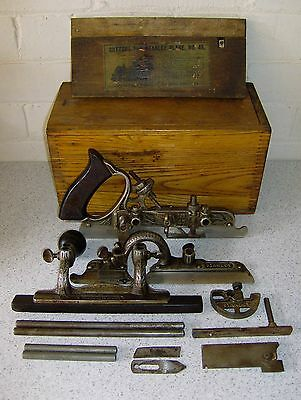 Antique Vintage Stanley No. 45 Combined Plow & Beading Plane - Cutters & Box
