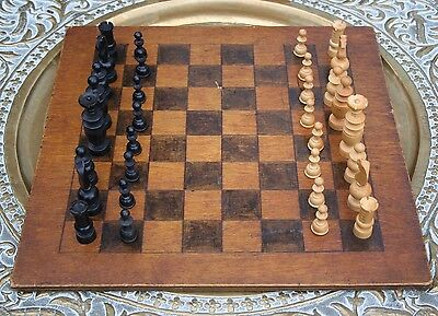 Antique  Victorian Plywood Double Sided Chess/draughts/checkers Board