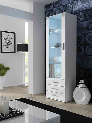 High Gloss Vertical Cabinet with LED / Display Cabinet / Entertainment Unit SOHO