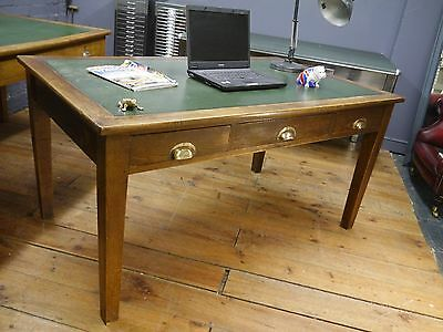 Large Antique Oak Early 20th Century Library Writing Table Desk