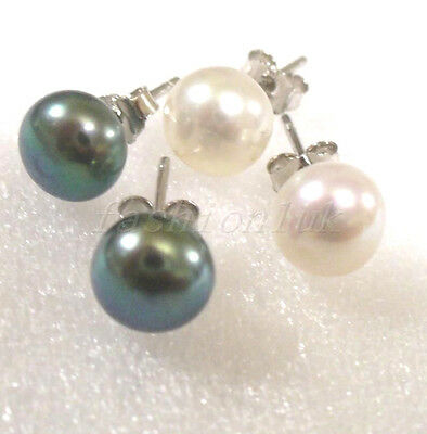 fashion1uk Authentic Freshwater Pearl 925 Silver Stud Earrings Black White Pink