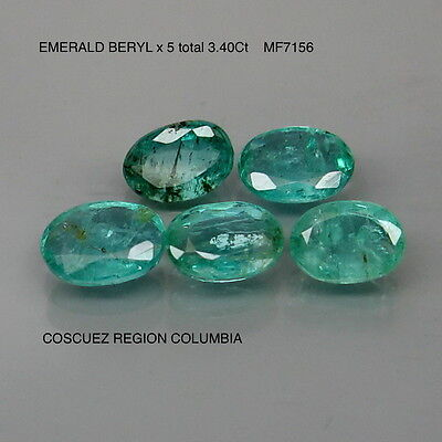 EMERALD BERYL x 5 NATURAL MINED UNTREATED TOTAL 3.40Ct  MF7156
