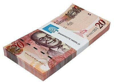 Botswana 20 Pula X 100 Pieces (PCS), 2014, P-31d, UNC, Bundle, Pack