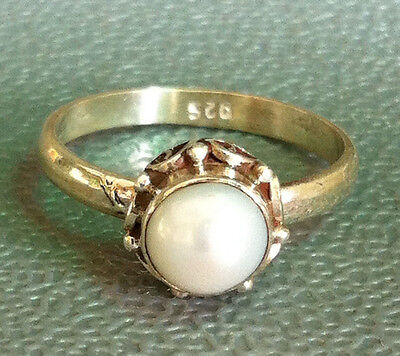 Traditional Sterling Silver Asian Vintage Style Pearl Ring Size P 1/2 Gift