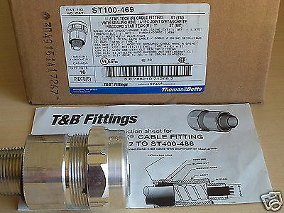 "10 NEW Thomas & Betts ST100-469 TYPE 4  1"" STAR TECK (R) CABLE FITTING w RING"