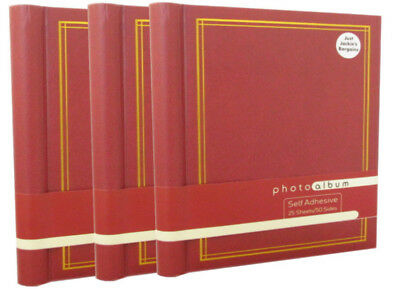 3 x Red Self Adhesive Photo Albums Totalling 75 Sheets 150 Sides EI24HJ