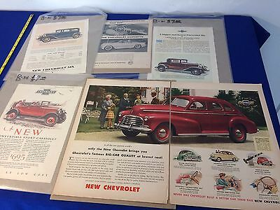 VINTAGE- 1920's 30's+ Original Chevrolet Six Car Ad - Cabriolet, Corvette, 6-Lot