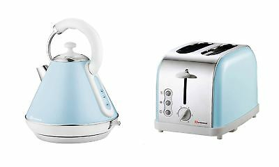 Set Of Electric Cordless Kettle & 2 Wide Slice Toaster Removable Tray Sky Line