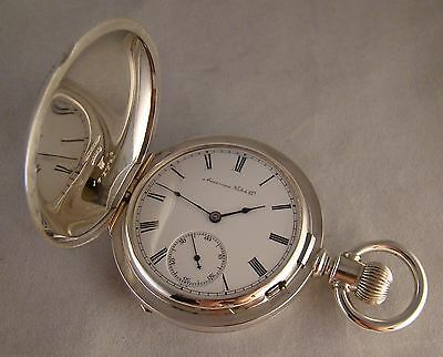 144 YEARS OLD WALTHAM CRESCENT ST 15j SOLID SILVER HUNTER CASE 18s POCKET WATCH