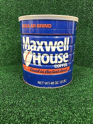 Maxwell House 3 pound tin coffee can with lid 48 ounces